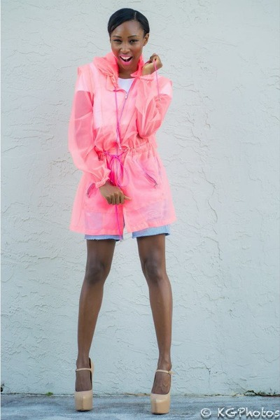 bubble gum windbreaker SUNO jacket - blue madewell shorts