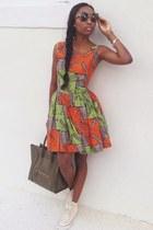 wax cotton custom made dress - forest green Celine bag