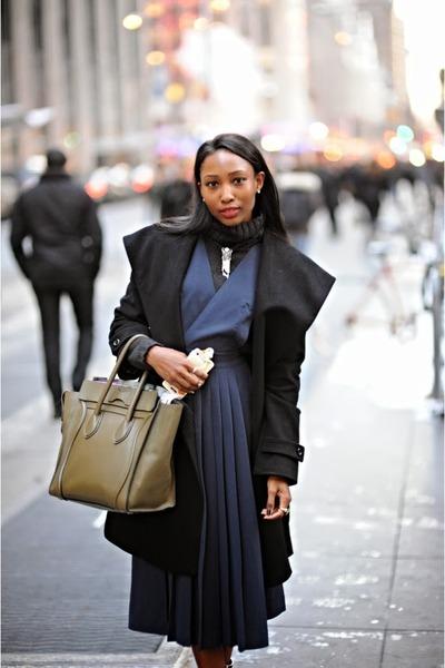 crimson Celine boots - dark green H&M dress - black asks fifth ave coat