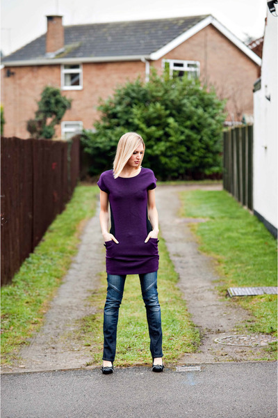 blue Crafted jeans - deep purple culture top - black zip bows Rocket Dog heels