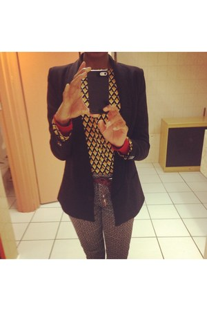 printed rage blouse - black asoscom blazer - maroon belt - Mr Price cardigan