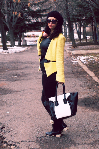 black Chanel boots - yellow Sheinside blazer - Celine bag - OASAP blouse