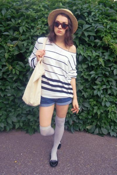 camel lindex hat - white striped F&F sweater - beige Gant bag