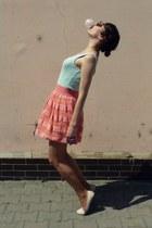salmon H&M skirt - light blue  top - neutral humanic flats - light purple DIY ri