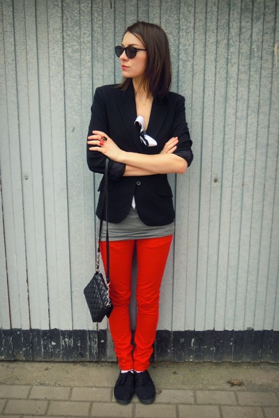 red Bershka pants - black H&M jacket - black  purse - black H&M sunglasses