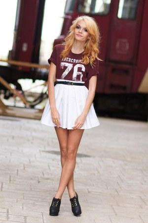 white Beatrice Gale skirt - brick red Bershka jacket - gold H&M ring