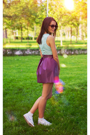 purple leather Beatrice Gale skirt
