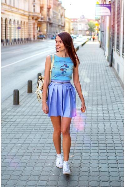 white nike shoes - sky blue cotton Disney shirt