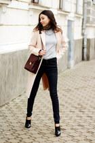 shoes - neutral coat - jeans - sweater - bag - necklace