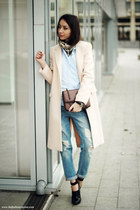 neutral coat - shoes - jeans - shirt - bag - watch