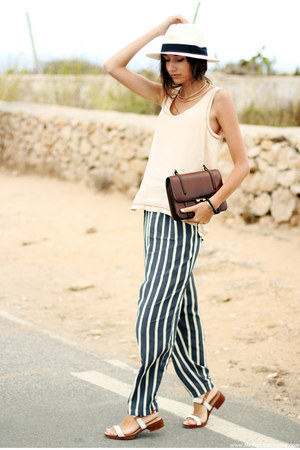 hat - bag - pants - sandals - top