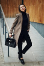 Coat-sweater-bag-loafers-pants