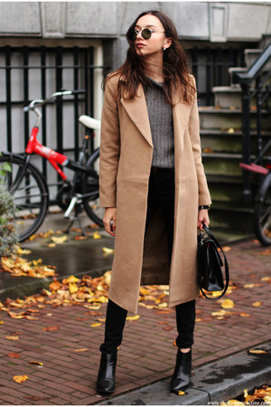 boots - coat - jeans - sweater - bag