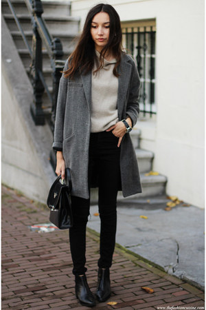 sweater - boots - coat - jeans - bag