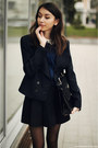 Blazer-shirt-bag-loafers-skirt