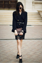 shoes - dress - blazer - bag - skirt