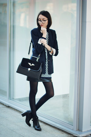 boots - dress - blazer - bag - skirt