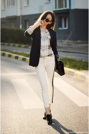 shoes - jeans - blazer - shirt - bag