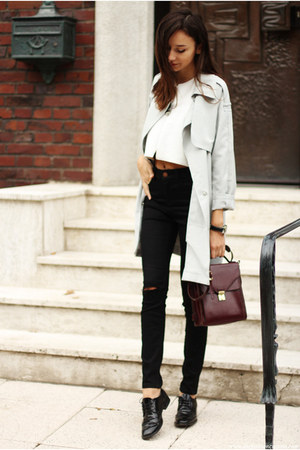 coat - shoes - jeans - bag - top