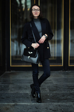 boots - sweater - blazer - bag