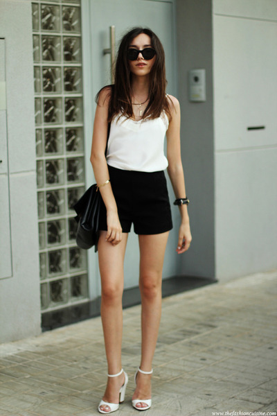 shorts - top - sandals - watch