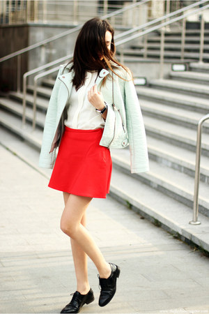 blazer - skirt - blouse - loafers - watch