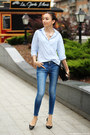 Jeans-shirt-bag-necklace-flats