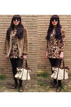 cream Urban Outfitters bag - dark brown vintage 1960s dress