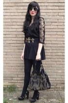black Urban Outfitters bag - black asos sunglasses - black Miss Selfridge romper