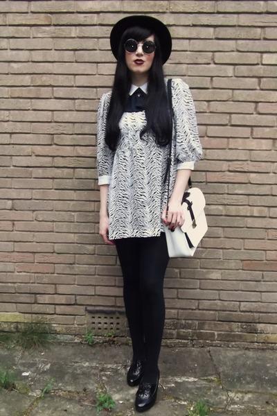 black H&M hat - white vintage 1980s dress - white Deena & Ozzy bag