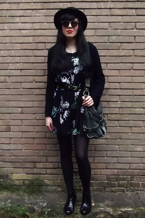 black Topshop boots - black h&m divided hat - dark green Deena & Ozzy bag