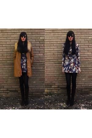 vintage 1970s coat - vintage 1970s boots - Vintage 1960s-1970s dress