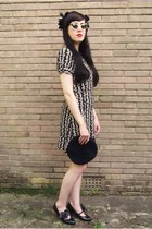 black Topshop dress - black vintage 1930s hat - black vintage 1930s bag