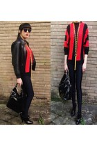 black Topshop boots - black vintage jacket - ruby red vintage 1980s sweater