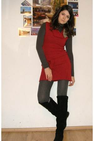 red helene dress - black H&M top - gray H&M tights - black Zara boots - green Ch