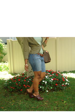green H&M blazer - blue Seven For All Mankind jeans - brown Jessica Simpson clog
