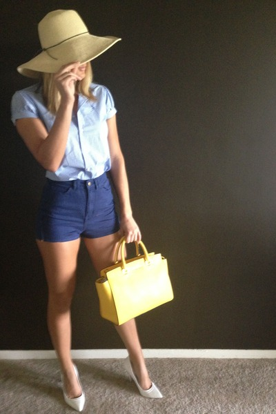 Ralph Lauren shirt - straw no brand hat - Michael Kors bag