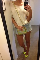 H&M sweater - holographic nastygalcom bag - neon trouve heels