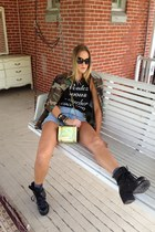 cutoff camo Urban Outfitters jacket - black chunky lace up nastygalcom boots