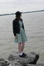 Aquamarine-made-by-me-dress-black-hat-black-wet-seal-jacket-charcoal-gray-