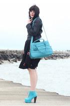 black courtesy of eShakti dress - turquoise blue UrbanOG shoes