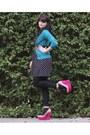 Teal-old-navy-cardigan-hot-pink-dolce-vita-shoes-black-forever-21-dress