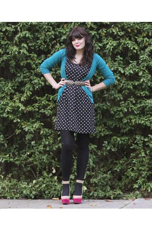 teal Old Navy cardigan - hot pink Dolce Vita shoes - black Forever 21 dress