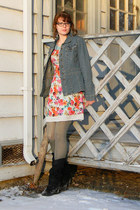 black charlotte russ boots - light blue modcloth dress - blue thrifted jacket -