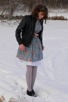 light blue red dress shoppe dress - black jacket - light purple tights - black M
