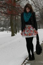 black xhilaration boots - white modcloth dress - black Wet Seal jacket - teal fr