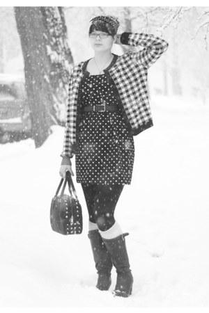 black DSW boots - black Forever 21 dress - black bag - ivory Davco socks