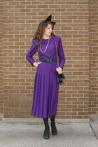purple vintage dress - black Walmart tights - black xhilaration shoes - black th
