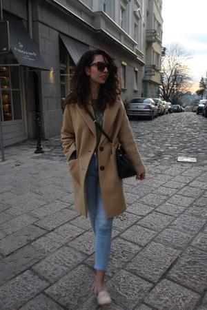 wool Zara coat - light wash H&M jeans - black leather Michael Kors bag