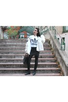 c&a skirt - Zara boots - vintage coat - Gucci bag - Adidas t-shirt